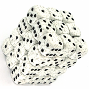 White & Grey 'Arctic Camo' Speckled 12mm D6 Dice Block
